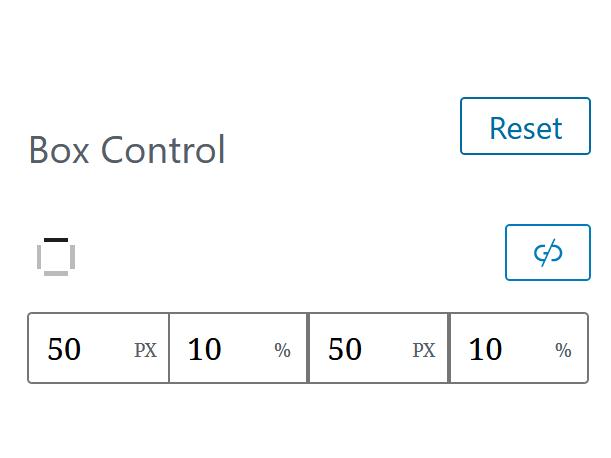 "A screenshot of the WordPress Gutenberg component ""BoxControl""."