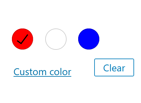 """A screenshot of the WordPress Gutenberg component """"ColorPalette""""."""