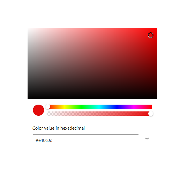 "A screenshot of the WordPress Gutenberg component ""ColorPicker""."
