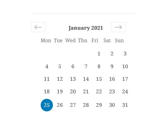 """A screenshot of the WordPress Gutenberg component """"DatePicker""""."""