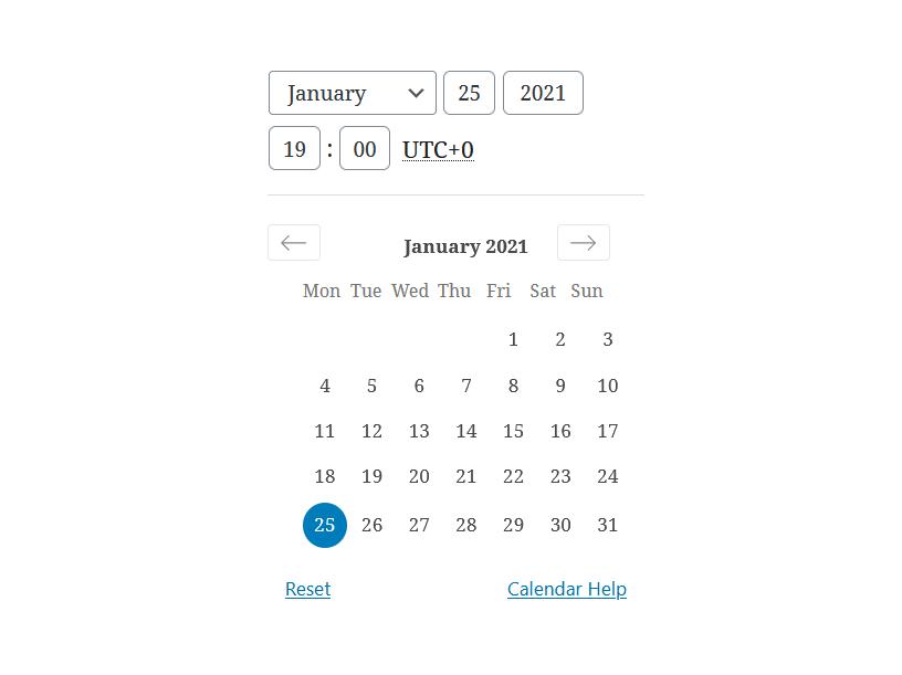 """A screenshot of the WordPress Gutenberg component """"DateTimePicker""""."""