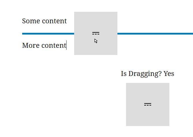 "A screenshot of the WordPress Gutenberg component ""Draggable""."