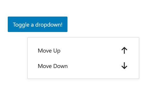 """A screenshot of the WordPress Gutenberg component """"Dropdown""""."""