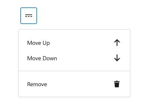 "A screenshot of the WordPress Gutenberg component ""DropdownMenu""."