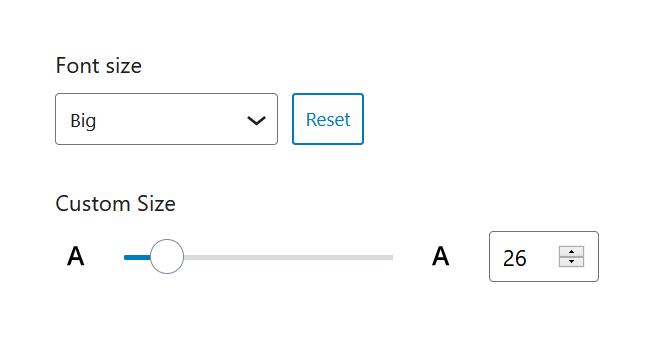 "A screenshot of the WordPress Gutenberg component ""FontSizePicker""."