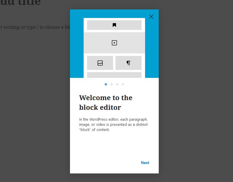 """A screenshot of the WordPress Gutenberg component """"Guide""""."""