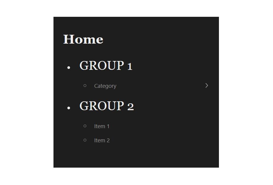 """A screenshot of the WordPress Gutenberg component """"Navigation""""."""