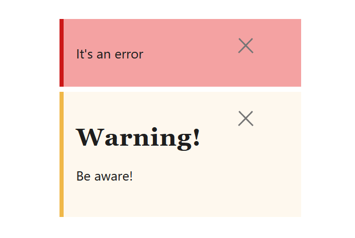"A screenshot of the WordPress Gutenberg component ""NoticeList""."