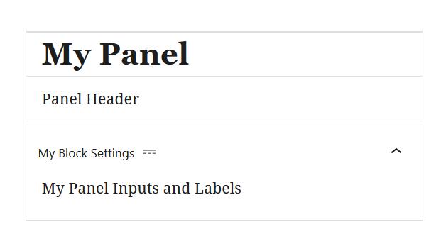 """A screenshot of the WordPress Gutenberg component """"Panel""""."""