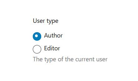 "A screenshot of the WordPress Gutenberg component ""RadioControl""."