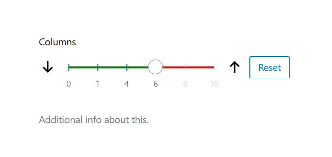 """A screenshot of the WordPress Gutenberg component """"RangeControl""""."""