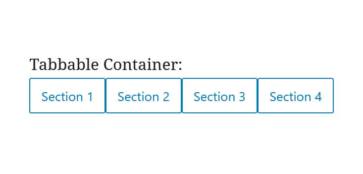 """A screenshot of the WordPress Gutenberg component """"TabbableContainer""""."""