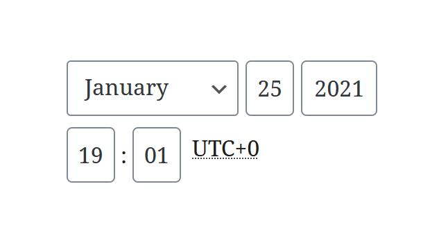 """A screenshot of the WordPress Gutenberg component """"TimePicker""""."""