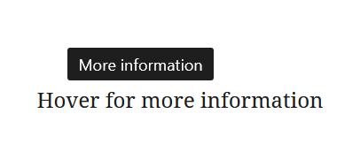"""A screenshot of the WordPress Gutenberg component """"Tooltip""""."""