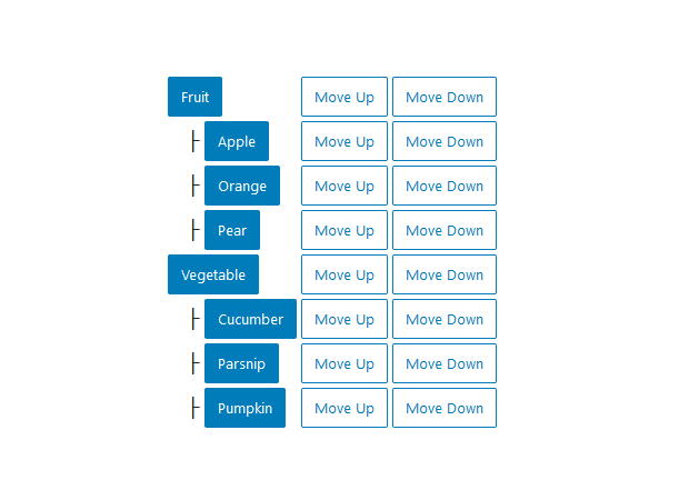 "A screenshot of the WordPress Gutenberg component ""TreeGrid""."