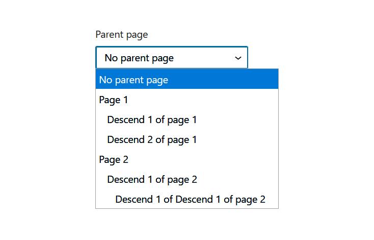 "A screenshot of the WordPress Gutenberg component ""TreeSelect""."