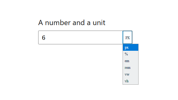 "A screenshot of the WordPress Gutenberg component ""UnitControl""."