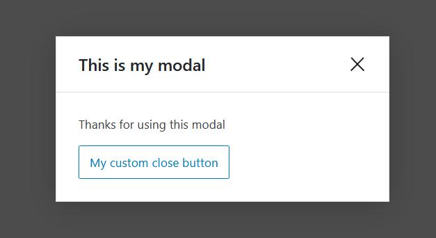 """A screenshot of the WordPress Gutenberg component """"Modal""""."""