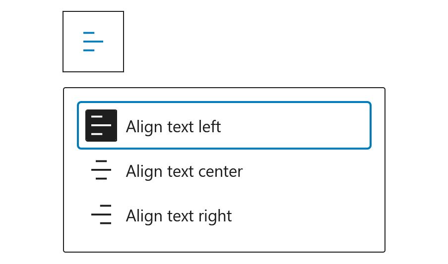 """A screenshot of the WordPress Gutenberg block editor component """"AlignmentToolbar""""."""