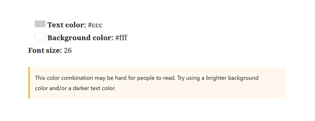 """A screenshot of the WordPress Gutenberg block editor component """"ContrastChecker""""."""