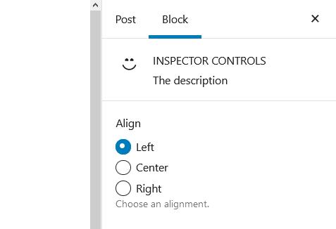 "A screenshot of the WordPress Gutenberg block editor component ""InspectorControls""."