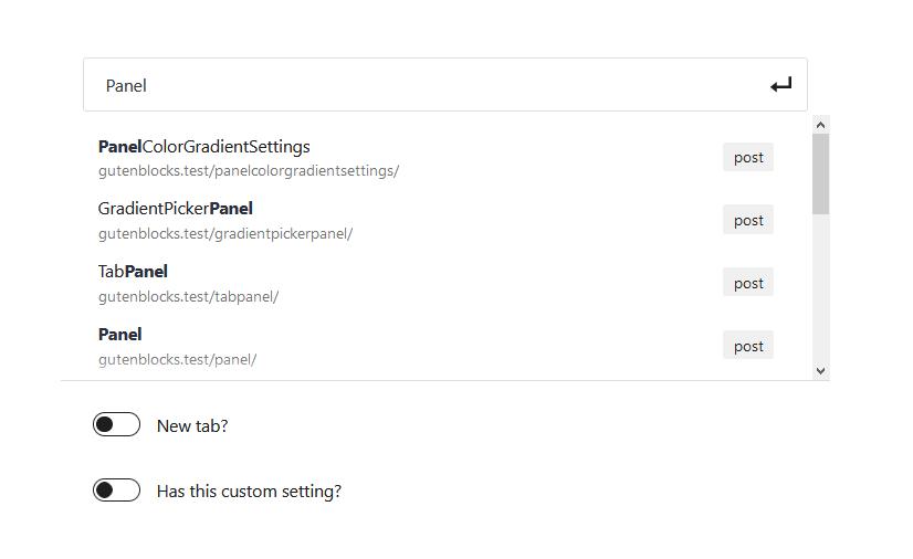 """A screenshot of the WordPress Gutenberg block editor component """"LinkControl""""."""